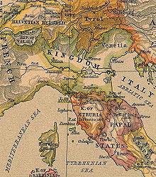 Lo Stato della Chiesa (in inglese Papal States) e gli stati vicini in epoca napoleonica (1806)