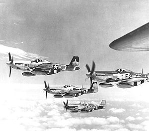"Organization of the Luftwaffe (1933–45) - The USAAF adopted the ""finger four"" formation by the time the Mustang saw squadron service."