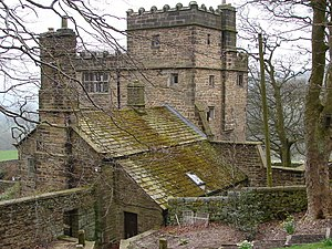 English: North Lees Hall and out buildings Oth...