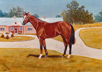 Champion Stakes - Northern Baby, oil on canvas  painted by Bob Demuyser (1920-2003)