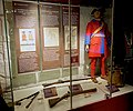 Norwegian military uniform 1710 Tricorne hat Justaucorps Great Nordic War Signal drum Blunderbuss (muskedunder) 1715 rifle Musket ball mould (kuletang) etc Rustkammeret Army and Resistance Museum Trondheim Norway 2019-03-20 9479.jpg