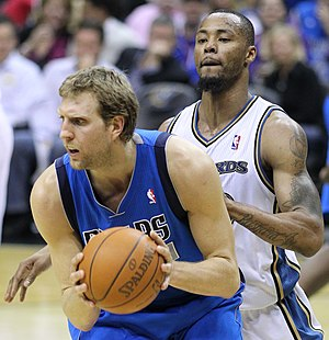 Dirk Nowitzki - Nowitzki posting up Rashard Lewis in 2011
