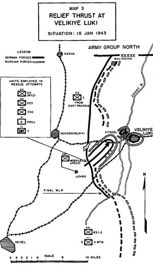 Battle for Velikiye Luki - German relief attempts. (Notice that the order of battle given on this 1952 map is not accurate.)