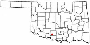 Comanche, Oklahoma - Image: OK Map doton Comanche