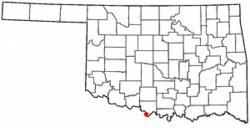 Location of Terral, Oklahoma