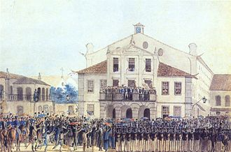 Pedro I of Brazil - Pedro, in his father's name, makes an oath of obedience to the Portuguese Constitution on 26 February 1821. He can be seen at the middle of the balcony raising his hat