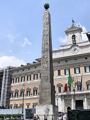 Obelisk of Montecitorio - Obelisk of Montecitorio. In the background is the Italian Chamber of Deputies building