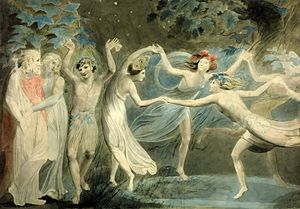 Four fairies dance in a circle beside another fairy who faces a human king and queen