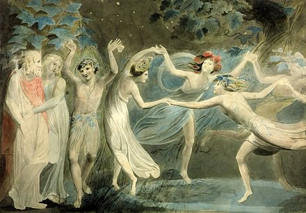Oberon, Titania and Puck with Fairies Dancing. By William Blake, c. 1786. Tate Britain. Oberon, Titania and Puck with Fairies Dancing. William Blake. c.1786.jpg
