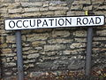 Occupation Road sign, Lincoln, England - DSCF1643.JPG