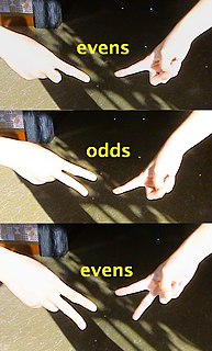 Odds and evens (hand game) A hand game of chance.