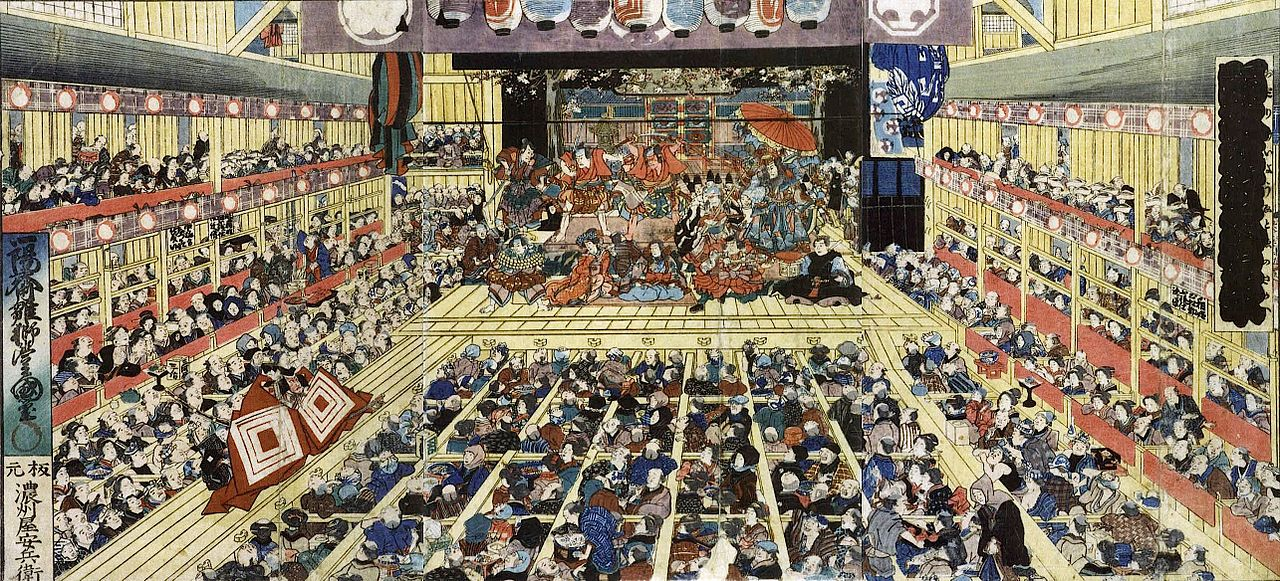 File odori keiy edo e no sakae by toyokuni for Describe the mural on the ceiling of the stage