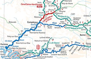 Canal latéral à l'Oise - Location of the Canal lateral à l'Oise in relation to the canalised river Oise and the other canals towards northern France, the Meuse, the Aisne and the Marne, from the European Waterways Map and Directory, 5th edition (Transmanche)