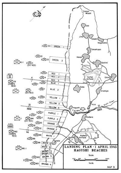 Okinawa Invasion Beaches, 1 April 1945 - Map