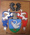 Olasztelek református templom Daniel címer.jpg