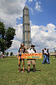 Old Hippies at the Washington Monument with Sign - Martin Luther King Jr.'s Dream - Non-Violence - 50th Anniversary of the March on Washington for Jobs and Freedom.jpg