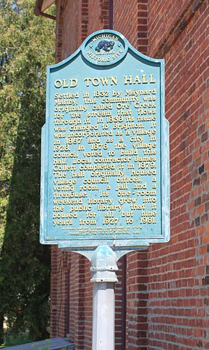 Brighton, Michigan - Image: Old Town Hall Historic Marker Brighton