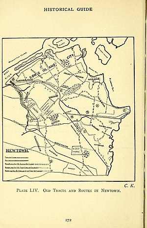 Elmhurst, Queens - 1910 map of old roads in New Town