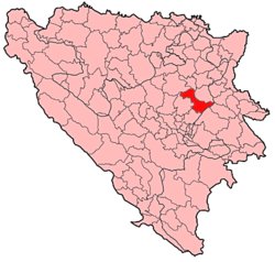 Location of Olovo within Bosnia and Herzegovina.