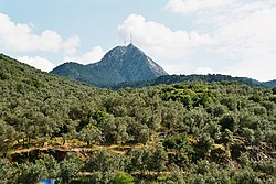 Olympos peak rises 968 meters over Lesbos