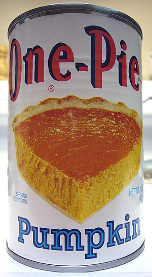 Pumpkin pie - A can of pureed pumpkin, typically used as the main ingredient in the pie filling
