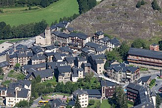 Outline of Andorra - Aerial view of Ordino