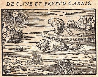 The Dog and Its Reflection - The dog swimming in the 1564 edition of Hieronymus Osius