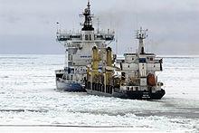 53f272c0aaf Finnish icebreaker Otso escorting a merchant ship in the Baltic Sea