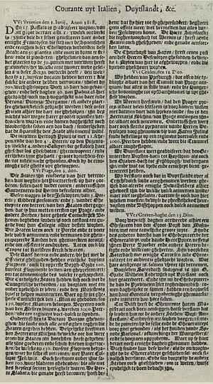 Courante uyt Italien, Duytslandt, &c. - Image: Oudste krant Nederland 1618