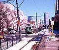 Outbound train approaching Boston University Central, February 1977.jpg
