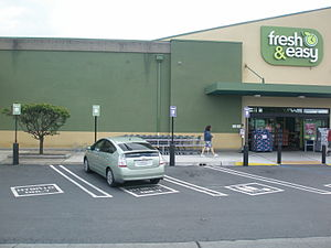 Fresh & Easy - Parking spaces reserved for hybrid cars at Clovis, California store.
