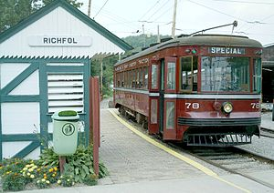 Pennsylvania Trolley Museum - Philadelphia and West Chester Traction Car 78 waits to pick up passengers at the museum