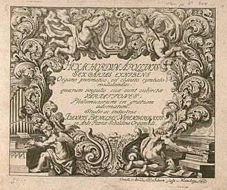 Hexachordum Apollinis - Facsimile of the frontispiece of Hexachordum Apollinis.