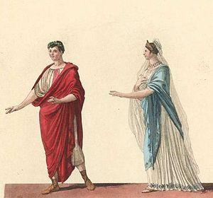 L'ultimo giorno di Pompei - Costumes for Sallustio and Ottavia (La Scala production, 1827)