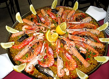English: Shellfish paella. Español: Paella de ...