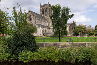 River Cart - Paisley Abbey from the west with White Cart Water