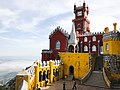 Palácio da Pena. Moorish arches yard, chapel, and clock tower. (41223960324).jpg