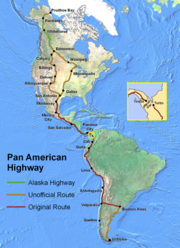 The Pan American Highway from Prudhoe Bay, United States, to Ushuaia, Argentina.