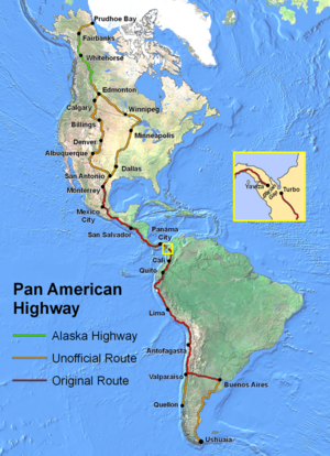 Pan-American Highway - The Pan-American Highway from Prudhoe Bay, U.S.A. to Quellón, Chile and Ushuaia, Argentina, with selected official and unofficial routes shown through the United States and Canada.