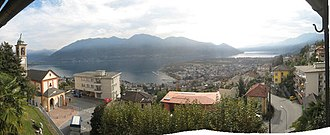 Orselina - Panoramic view of the church, Orselina and Lake Maggiore.