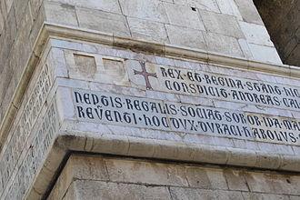 Lombardic capitals - Inscription in Lombardic Capitals on the campanile of Santa Chiara, Naples