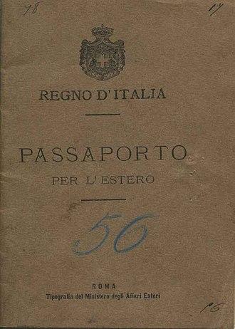 Italian passport - Image: Passaportoitaliano 1901