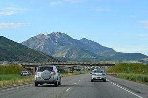 Passing lane - An SUV prepares to pass a slower moving car, using a passing lane in rural Utah