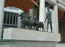 Paternoster Square - Statue of Man driving Sheep - London - 240404.jpg