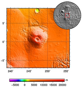 Pavonis Mons - MOLA colorized topography of Pavonis Mons