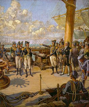 Prince Pedro (to the right) orders the Portuguese officer Jorge d'Avilez (to the left) to return to Portugal after his failed rebellion