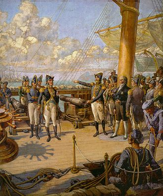 Imperial Brazilian Navy - Dom Pedro (right) orders the Portuguese officer Jorge de Avilez de Souza Tavares (left) to return to Portugal after his failed rebellion.