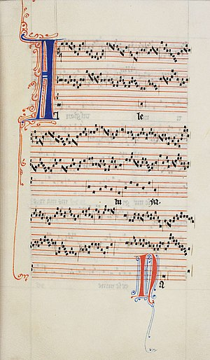 "Ars antiqua - Pérotin, one of the few composers of ""Ars Antiqua"" who is known by name, composed this Alleluia nativitas in the third rhythmic mode."