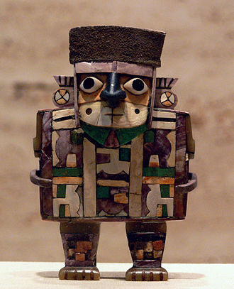 Indigenous peoples in Peru - Wari culture sculpture, c. 600–1000 CE, wood with shell-and-stone inlay and silver, Kimbell Art Museum