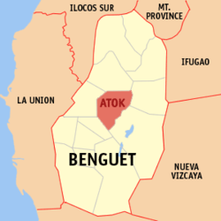 Map of Benguet showing the location of Atok